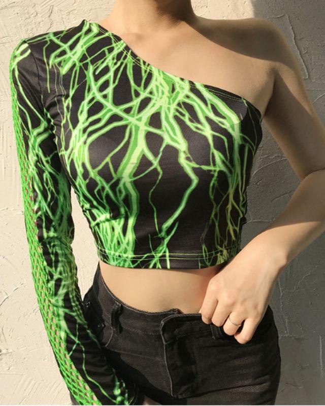 Áo Croptop tay dài ghép lưới màu xanh H127