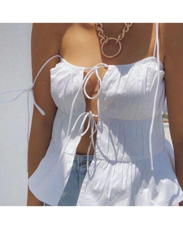 Croptop hai dây cột hở ngực sexy viền tầng xòe nhẹ HAC58