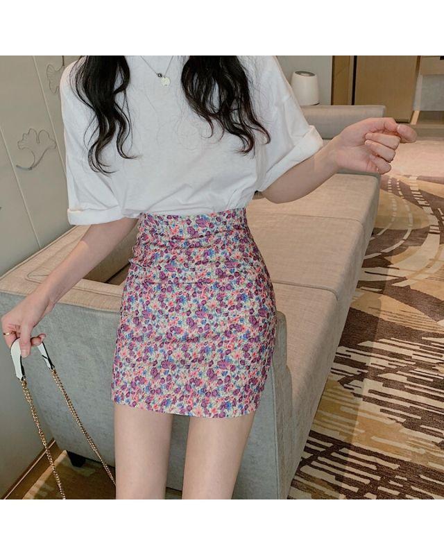 Chân váy hoa tím HCV08
