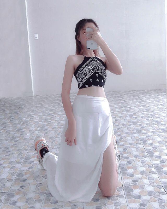 Chân váy lụa bóng dây rút HCV20