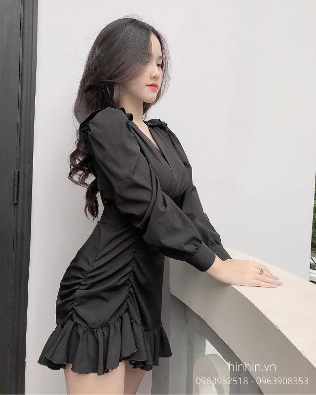Đầm đấp chéo chân váy dún viền bèo nịn dáng HDT160