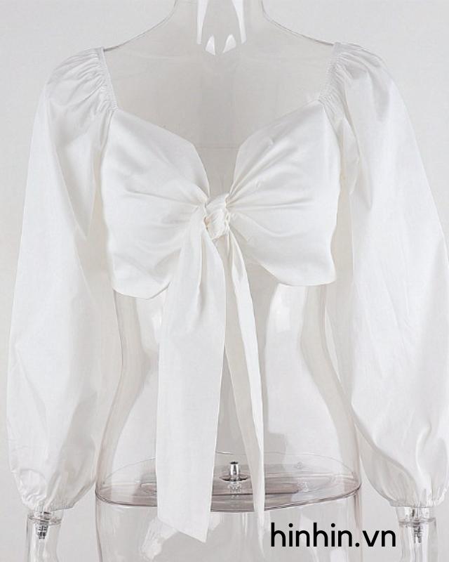 Áo croptop tay phồng cột nơ ngực HAC120