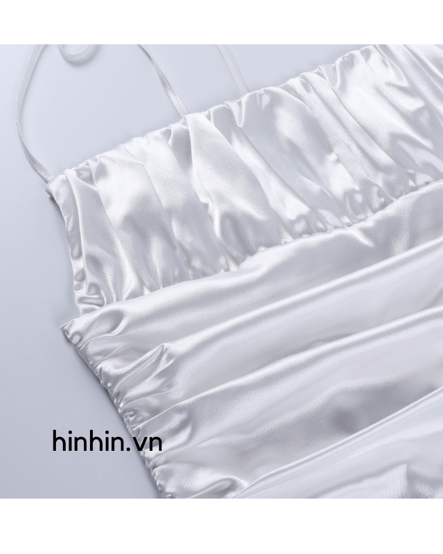 Áo croptop trắng đan dây lưng dún bèo HAC124 Hỉn Hỉn Store