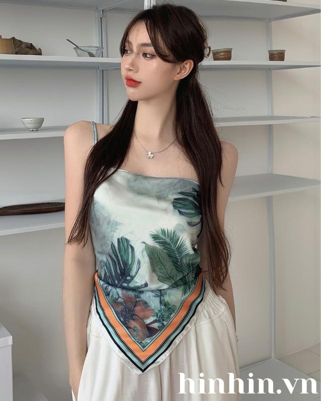 Áo croptop khăn lụa cột nơ hoa văn xanh HAC130 Hỉn Hỉn Store