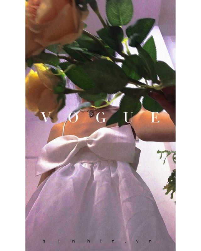 Váy babydoll trắng nơ ngực siêu đáng yêu HDT232 Hỉn Hỉn Store