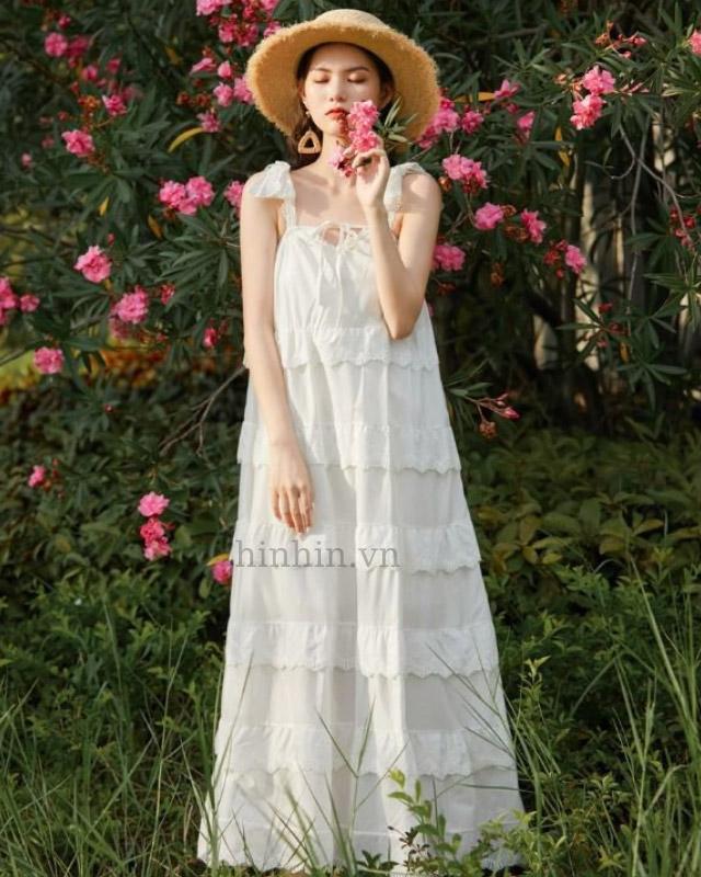 Đầm maxi trắng